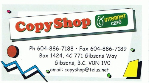 Copy Shop & Internet Cafe, Gibsons BC