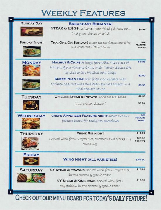 Gramma's Pub Menu - Weekly Specials