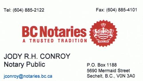 Jody Conroy, Notary, Sechelt BC